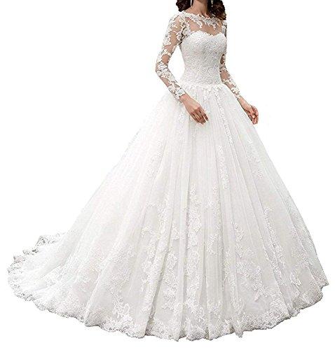 Topkleider Damen Glamour Weiss Spitze Ballgown Brautkleider Hochzeitskleider Lang Spitze Brautmode...