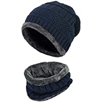 Coudre 2-Pieces Winter Beanie Hat Neck Scarf Set Warm Knitted Fur Lined For Men & Women(Free Size)