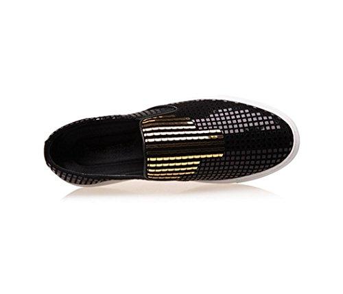 HYLM Scarpe da ginnastica dei pattini di cuoio genuini di Scarpe da discoteca di Sequins dei pattini piani delle scarpe da tennis casuali di sport Gold