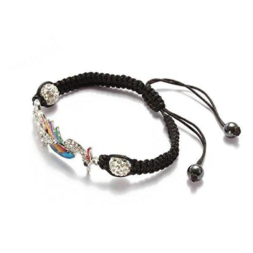 Ecloud Shop® 49 X18mm Bunte Diamantbohrer Phoenix Kugel schwarz geflochtenen Seil verstellbar Armband Kanalisierung