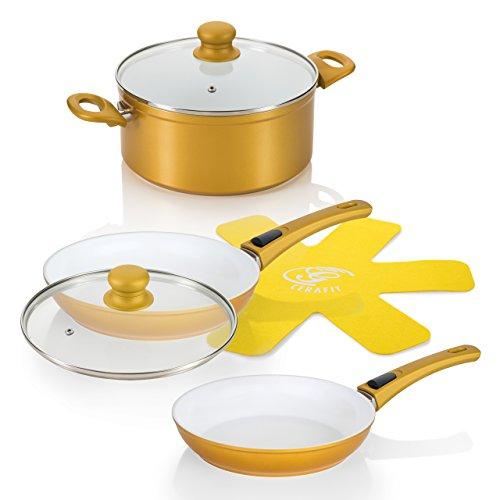 Genius - Cerafit Deluxe Gold Edition 24491 Keramik Pfannen Topf Set UVP 185,95€
