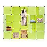 Hongyans Kleiderschrank Stoff DIY Schrank Regalsystem mit Kleiderstange Platzsparender Würfel Modularer Speicher 20 Würfel (Grün)