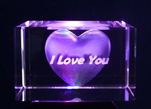 3D i Love you inciso al laser di cristallo ornamento in confezione regalo da collezione AWD