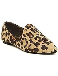 Leopardo De Las Mujeres Zapatos Casuales Planos En Punta ResbalóN En Los Mocasines Faux Suede Lentejuelas
