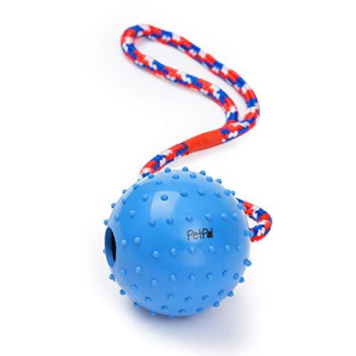 PetPäl Ball mit Seil Naturkautschuk | WurfballHundespiel-Ball mit Schnur | Hundeball Ø 7cm | Bälle Spielzeug am Seil für Hunde | Kauspielzeug aus Naturgummi | Hunde-Spielzeug (Ball In Einem Ball Hund Spielzeug)