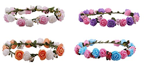 Sanjog Premium Flower Gracious Tiara/Crown Head Wrap For Girls Women Pack Of 4