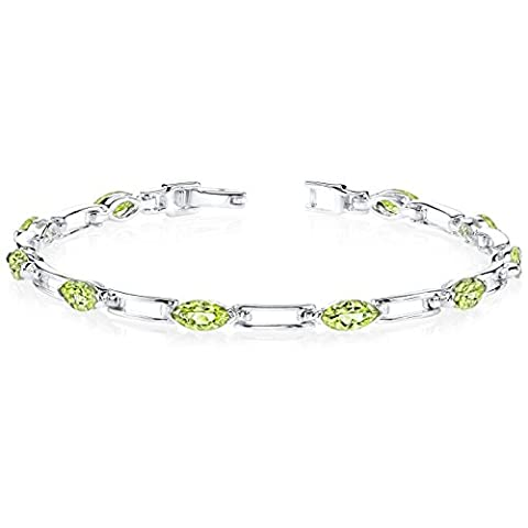 Revoni Fabulous Trend: 5.75 carats total weight Marquise Shape Peridot Gemstone Bracelet in Sterling Silver