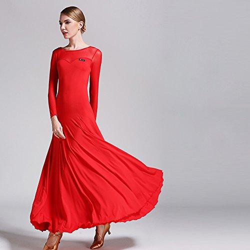 Moderne Dame Großen Pendel Ice Silk Ballroom Dance Kleid Modernen Tanz Kleid Tango und Walzer Tanz Kleid Tanzwettbewerb Rock Langarm Netz Garn Kleid Tanz Kostüm,Red,XXL (Swing Ballroom Tanz Kostüme)