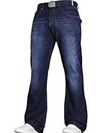Von Denim Men's Wide Leg Stretch Bootcut Flared Blue Heavy Denim Jeans with Free Belt by JEANBASE