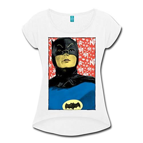 Spreadshirt DC Comics Batman Vintage Kostüm Porträt Frauen T-Shirt mit gerollten Ärmeln, L, Weiß