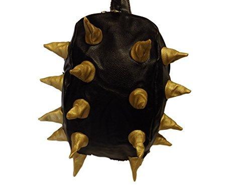Rucksack - Schwarzer weicher Unisex Studenten Rucksack aus Kunstleder mit Stacheln schwarz/Gold Spikes aerodynamisch
