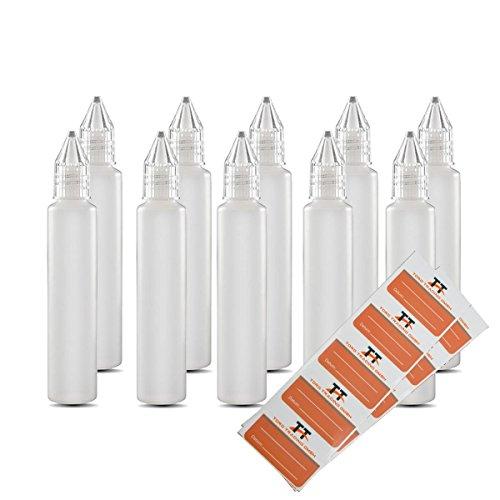 TORG TRADING Stiftflaschen BZW. Unicorn Bottle - 10 x 30ml Kunststoffflaschen aus weichem PE inkl. 10 Etiketten - Tropfflaschen,Dosierflaschen,Dropper Flaschen,Quetschflaschen (30 ml) -