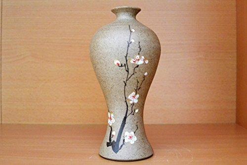 Schöne dekorative Steinzeugvase mit Blütenmotiv 2 (Vasenform 13), Porzellan, Keramik, Steinzeug, chinesisches, China, Porzellanvase, kleine Vase, Tischvase