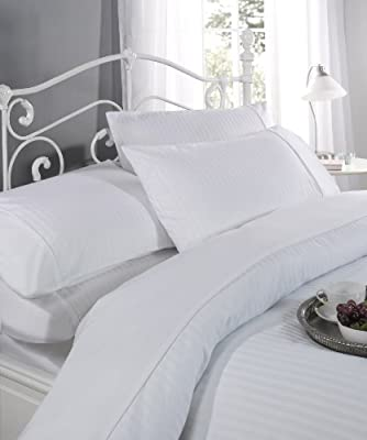 Ritz King size Duvet cover & 2 Pillow case set WHITE 100% cotton sateen stripe 300 thread count percale hotel luxury set produced by Homestore International - quick delivery from UK.