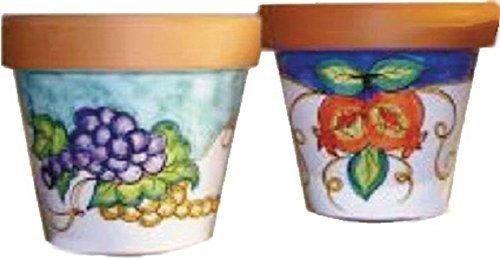 Vaso per fiori in terracotta e ceramica artistica di vietri - dipinto a mano - made in italy; diametro cm. 29, altezza cm. 26.