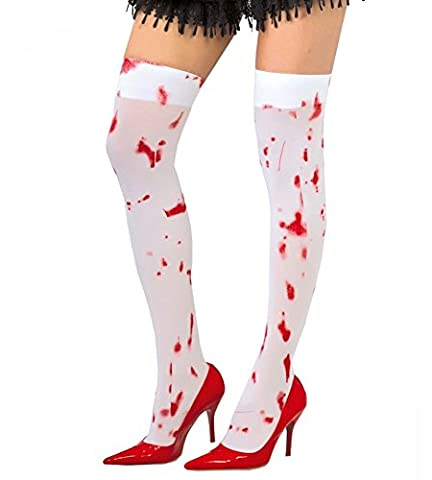 Strümpfe mit Blut-Spritzern Halloween Accessoire Weiß Rot Zombie (Blutige Kettensäge)