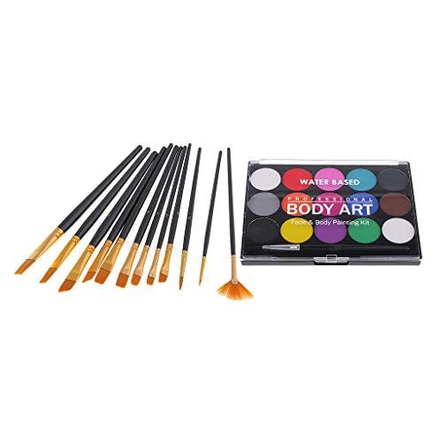 FLAMEER 15 Farben Gesicht Körperfarbe Palette Für Halloween Make Up Kit Fancy Party Farbe