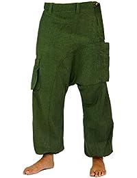 Guru-Shop Haremshose, Pluderhose, Pumphose, Aladinhose - Olive, Herren, Baumwolle, Männerhosen Alternative Bekleidung