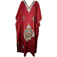 Mogul Interior Womens Kimono Caftan Kashmiri Embroidered Red Maxi Kaftan House Dress One Size