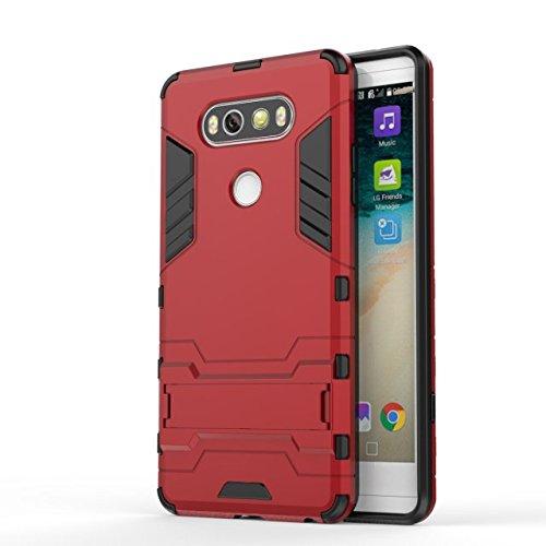 LG V20-Fall-Abdeckung 2 in 1 Tough Art Hybrid Dual Layer Rüstung Defender PC Hard Cases New Armour Standplatz-Abdeckung Stoß- Fall Für LG V20 ( Color : White , Size : LG V20 ) Red