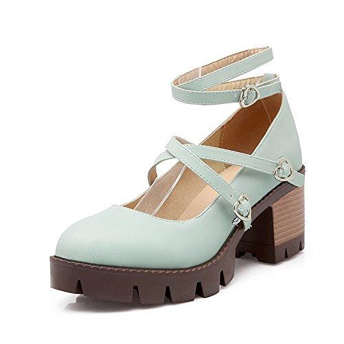 AgooLar Femme Rond à Talon Correct Couleur Unie Boucle Chaussures Légeres Bleu