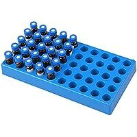 Four E'S Scientific - Juego de 3 botellas de laboratorio (3 paquetes), color azul, capacidad para 50 viales estándar de 12 mm, 2 ml, soporte para tubos apilables