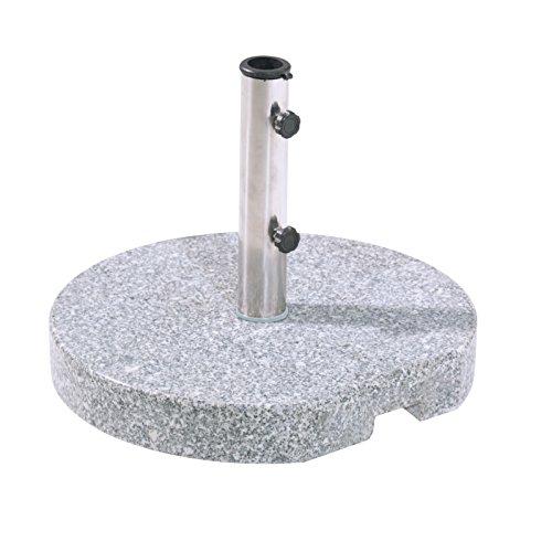 greemotion Schirmständer Granit, Schirmfuß mit stabilem Edelstahlrohr Ø ca. 25-48 mm, standfeste Schirmhalterung ca. 25 kg, Granitstandfuß, grau