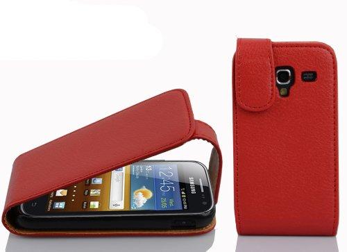 Cadorabo Samsung Galaxy ACE 2 Custodia di Finta-Pelle FLIP STRUTTURA in ROSSO CREMISI – Protezione in Stile Flip di Similpelle Fine – Portafoglio Cover Case Wallet Book Etui Protezione