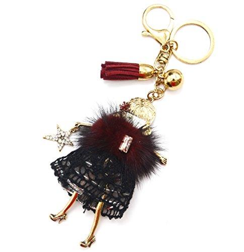 Oh My Shop PT1119E - Porte-Clés/Bijou de Sac - Poupée Articulée Femme Robe Fourrure Synthétique Bordeaux et Dentelle Noir - Mode Fantaisie