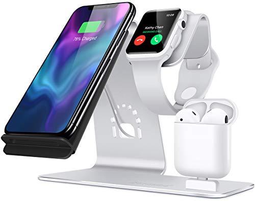 Soporte [3 en 1] Apple iWatch de aluminio, zona de carga para AirPods, cargador inalámbrico de carga rápida para iPhone 7/ 6s Plus, Samsung S8 y otros dispositivos Qi en Plata