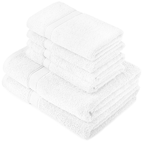 Pinzon by Amazon Handtuchset aus Baumwolle, Weiß, 2 Bade- und 4 Handtücher, 600g/m²