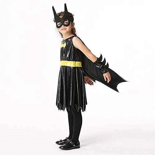 ROCK1ON DC Superheld Batman Kleid für Mädchen, Kinder Halloween Karneval Rollenspiel Kostüm, Weihnachten Tanzparty, Cosplay Geschenk Geburtstag,Include Maske Handschuh,Alter 4-12,S (Kostüm Flügel Konstruktion)
