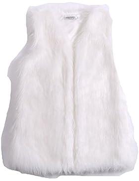Samber Chaleco de Pelo de Zorra Sintético Chaqueta Mujer Pelo Invierno Abrigos Medio Largo para Mujer