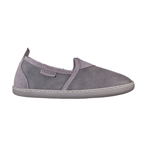 Vanuba hampshire ii - pantofole da donna artigianali, in pelle naturale, lana di pecora al 100%, scarpe da casa calde e confortevoli (38 eu, grigio (grey))