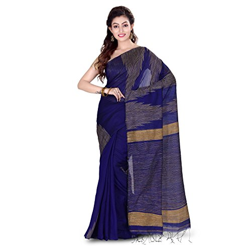 Wooden Tant Silk Ghicha Saree In Royal Blue With Blouse Piece