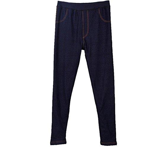 Vertvie Femme Leggings Jeans Stretch Doublé Polaire Collant Chaud Épais Taille Haute Bleu