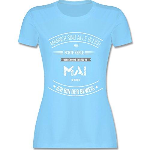 Shirtracer Geburtstag - Echte Kerle Werden IM Mai Geboren - Damen T-Shirt Rundhals Hellblau