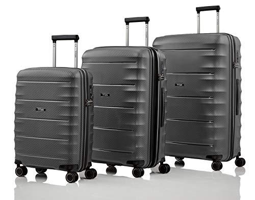 """TITAN Super Leichter Hartschalenkoffer \""""Highlight\"""" in 4 Größen im Carbon Look, Handgepäck mit Vortasche Koffer-Set, 75 cm, 218 Liter, Anthracite"""