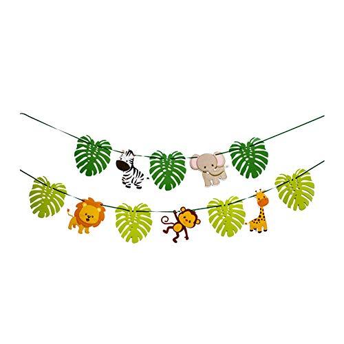 Unicoco Deko Cartoon Tier Geburtstag Banner Party Wimpelkette Dekoration Baby Shower Girlande Dschungel Tier Blätter Banner