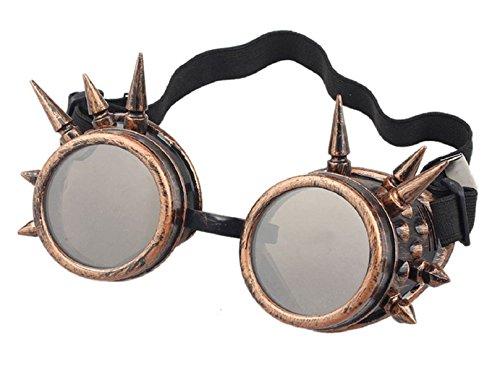 Ultra Bronze mit Braunen Linsen Steampunk Brille Gläsern Cyber Viktorianischer Punk Schweißen Cosplay Goth Round Spike Vintage Rave - Coole Steampunk Kostüm