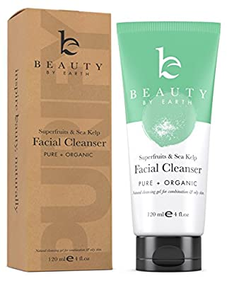 Facial Wash Organic & Natural Gel Face Cleanser, Gentle Soap Formula, Best for Normal, Combination, Oily, Acne Prone or Problem Skin, Daily Face Wash for Men & Women, Made in the USA from Beauty by Earth