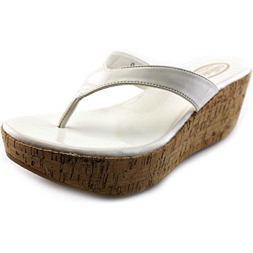 Callisto Beachie Synthetik Keilabsätze Sandale White