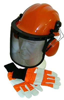 Chainsaw Safety Helmet/Hard Set & Large Gloves