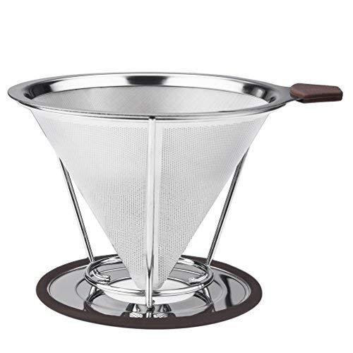 Vicloon Edelstahl wiederverwendbare Kaffee Filter mit Tassenhalterung Dripper zum Aufbrühen für bis zu 4 Tassen