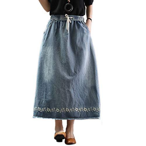 QJKai Damen Denim Midi Rock Lose elastische Taille Plus Size Stickerei floral A-Linie Rock Vintage gewaschener Jeansrock für den Sommer -