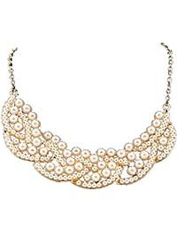 Nouveau collier Bib cru perle d'imitation creusé d'or de collier de foulard Boolavard ®