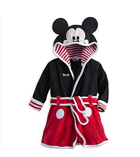 Kuhu Creations® Cartoon Style Hooded Towel Bath Robe For Kids(Mky Mus:Red & Black).