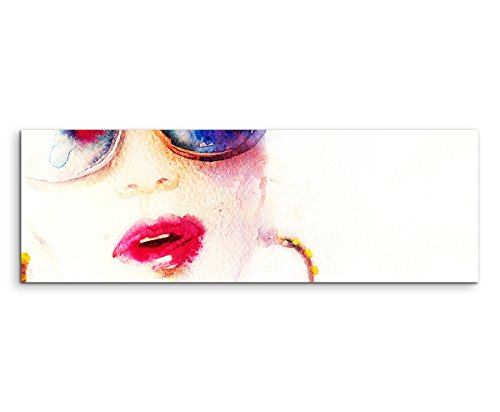 Sinus Art Panoramabild 120x40cm Bild - Frau mit Sonnenbrille Kreolen und Kussmund