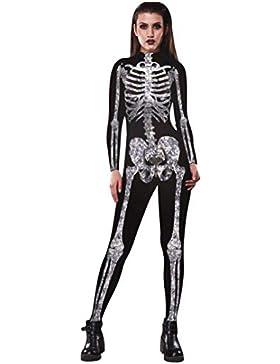 Halloween de BaZhai, Mujer Esqueleto de Las Mujeres Huesos de Pantalones Cosplay Bodycon Partido de Lujo Ropa...
