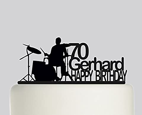 Drummer Drums Drumming Drum Kit PERSONALISED with name and age! Cake Topper- Acrylic Cake Topper - Black Acrylic